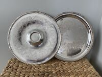 """2 WM ROGERS 171 & 866 Silver Plate Serving Trays 12 1/4"""" Round Silverplate VTG"""