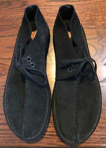 Men's Clark Desert Trek Boots Black Suede Size 10 .5