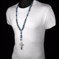 Mens Hip Hop 8mm BLUE Bead Silver Cz Rosary Jesus Cross Religious Necklace Chain