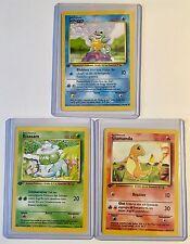 Pokemon SQUIRTLE, BULBASAUR & CHARMANDER 1st Edition GERMAN Base Set MINT