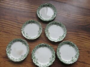 6 Waterloo Potteries Green White Lugano Butter Pat T&R Boote England