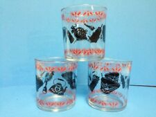 3 Vintage 1950s Hazel Atlas Storage Jar Antique Theme Sour Cream Glasses VGC!
