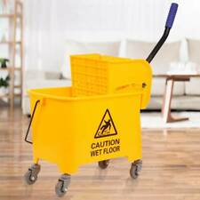 20L Mop Bucket Commercial Rubber Bucket Wringer Yellow Hotel/Restaurant