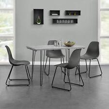 [en.casa]® Esstisch 120x60cm Hairpinlegs mit 4 Stühlen grau Kunststoff Tisch
