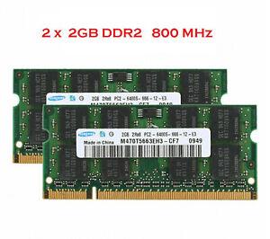 Kit 4Go Mémoire RAM DDR2 SAMSUNG 2x 2Go Portable SODIMM 200 Pin PC2-6400S 800MHz