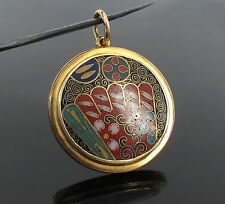 Vintage Multi Color Floral Enamel 14K Yellow Gold Locket Pendant