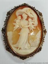Antique Elaborate Filigree Shell Cameo Putti Cherubs Woman Gold Over Silver