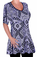 Womens Print V Neck Blouse Tunic Ladies Swing Flared T-Shirt Top