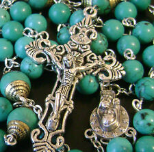Turquoise BEAD & VINTAGE CRUCIFIX CATHOLIC NECKLACE SEVEN SORROWS ROSARY CROSS