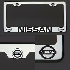 Chrome T304 License Plate Frame Tag Fit Nissan Black Letter Laser Etched Engrave