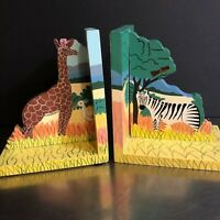 Jungle Animal Book Ends Hand Painted Wooden Made Sri Lanka Nursery Decor Whimsy
