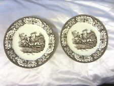 Two's Twos Company Brown Transferware Soldiers & Hog Floral Wall (2) Plates NR