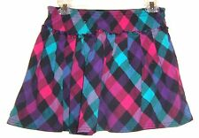 Sz Jrs L - Arizona Blue & Purple Plaid Print Mini Skort Size Jrs Large