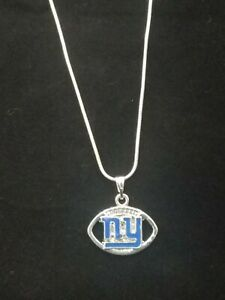 New York Giants Necklace Pendant Sterling Silver Chain NFL Football