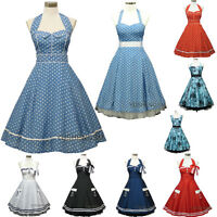 STOCK 50s 60s Rockabilly Vintage Pinup Party Cocktail Prom Bridesmaid Dress 8-26