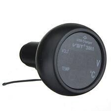 3 in 1 Digitale ROSSO BLU LED Voltmetro Termometro USB 12V 24V Z4G9