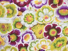 17,09€/m² => 25cmx110cm: GLOXINIAS Moss / Große Blumen - Kaffe Fassett