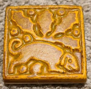 Vintage Motawi Tileworks Art Deco Stylized Dog and Holly 3 in. Art Pottery Tile