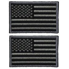 Tactical USA American Flag Patch Military Uniform Emblem Patches Gray 2 Pieces