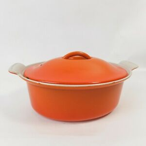 Le Creuset Cast Iron Oval Casserole Dish + Lid 22cm Volcanic Orange Vintage RTGL