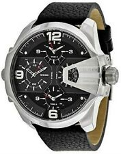 BRAND NEW DIESEL UBER CHIEF BLACK DIAL LEATHER CHRONOGRAPH MENS WATCH DZ7376