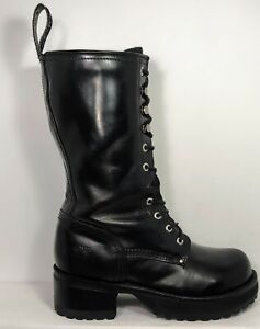 Muro Vintage Lace Up Punk Chunky Gothic 90's Leather Boots Women's Sz.8 Black