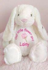 Personalised flower girl bunny rabbit teddy.embroidered,wedding, bridesmaid gift