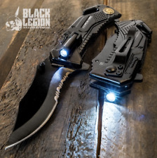 Army Spring Assisted Tactical Rescue Folding Pocket Knife w/ Led Flashlight