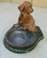 VINTAGE DECORATIVE PAINTED HEAVY METAL TRINKET DISH WITH PUPPY DOG