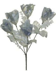 5 Silver Roses Buds Artificial Flowers Silk Fake Faux Wedding Bouquet Decoration