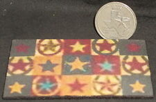 "Welcome Mat ""Horseshoes & Stars"" 1:12 Carpet Rug Texas House Door Dollhouse Mini"