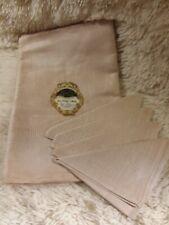 Czechoslovakia Linbrio Beige Linen Table Cloth and Four Napkin Set