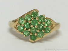 Estate Jewelry Ladies Peridot Cluster Ring 10K Yellow Gold Size 6