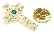Celti Cross With Emerald Stone Irish Blessing Gilt Badge