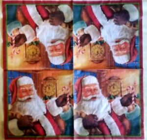 4 x  PAPER NAPKINS: SANTA,  for TABLE, DECOUPAGE & CRAFTING
