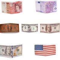 Dollar/Pound/Euro Bifold Leather Card Case Holder Money Clip ID Wallet Unisex