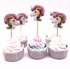10 x Unicorn Cake Cupcake Topper Decoration Birthday Party Baking Supplies