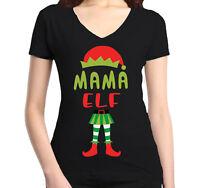 Mama Elf Costume Women's V-Neck T-shirt Christmas Funny Merry Xmas Tee