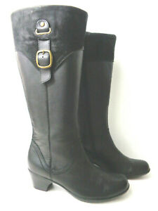 CLARKS US 8M Black Leather Zip Buckle Knee High Boots Style 62752 Bendables