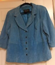 HEY 👋 L👀K: TERRY LEWIS Turquoise Suede Leather Lined Button Jacket SZ 2X NWT