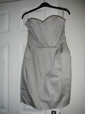 Women's H&M size 10 grey/ stone bandeau strapless dress zip back with pockets