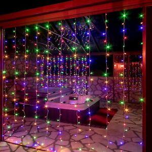 3x3m LED Lichternetz Lichterkette Bunt Lichtervorhang Xmas Deko Innen Außen IP44