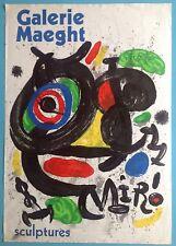 Joan MIRO Affiche Originale Lithographie de 1970 Sculpture Arte Paris 47ans 77cm