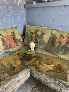 Antique 19th Century Oil Painting Tin Metal Religious Stations Cross Jesus X5