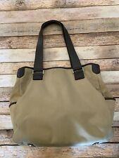 Tumi Khaki Tote Bag Handbag Leather Trim Fuschia Interior