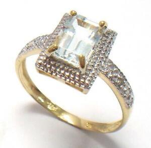 SYJEWELLERY FINE 9CT YELLOW GOLD OCTAGON AQUAMARINE & DIAMOND RING SIZE N R977