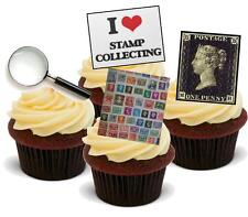 NOVELTY STAMP COLLECTING MIX 12 STAND UP Edible Cake Toppers Birthday Collector