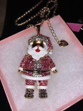 Betsey Johnson Necklace Chubby SANTA CLAUSE PINK CRYSTALS Gift Box