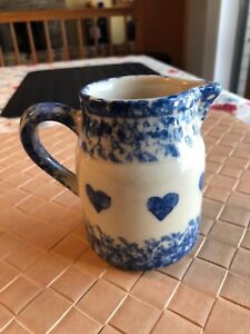 Vintage Roseville Ohio Pitcher with Hearts Friendship Pottery