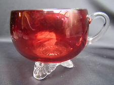 Ruby Stained EAPG Pattern Glass Colorado  Cup Personalized Bertha F. Stover 1908